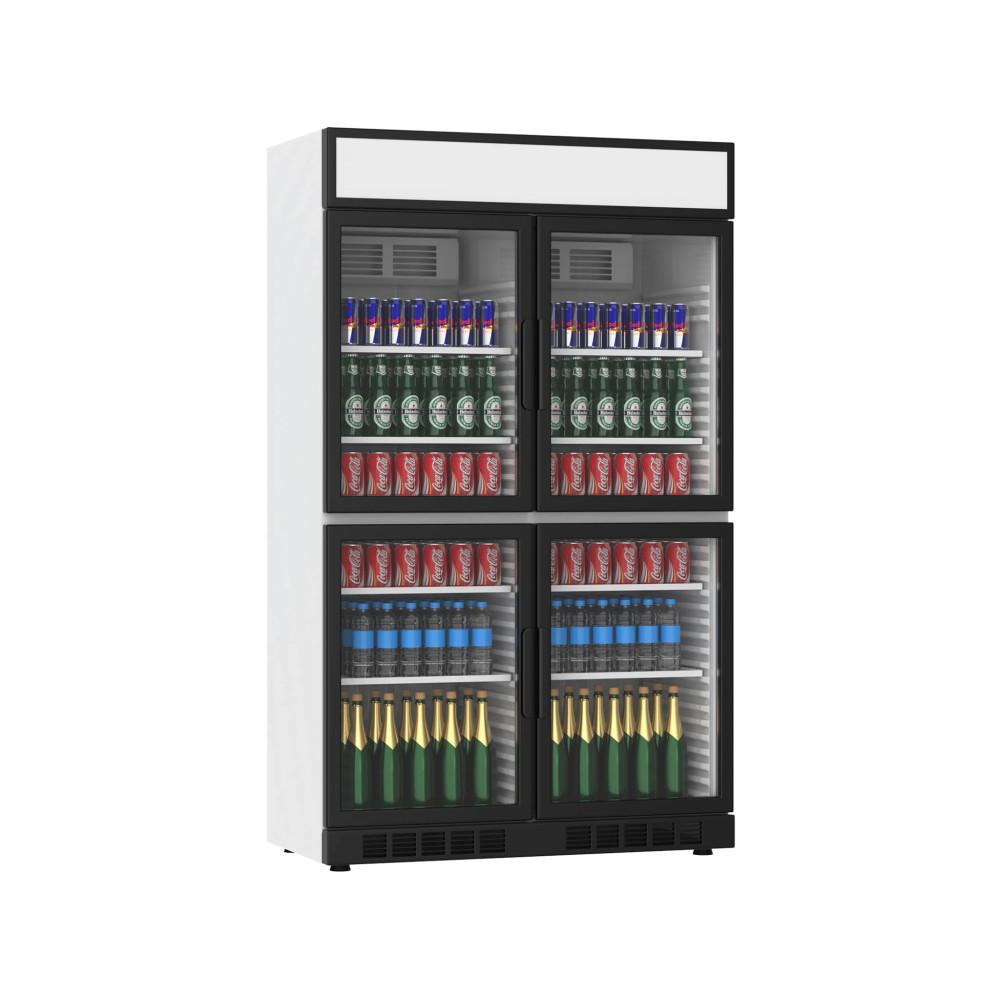 Koelkast glazen deur - 770 Liter - 4 Deurs - Zwart - H199.4 x 120 x 60.5 CM - Promoline