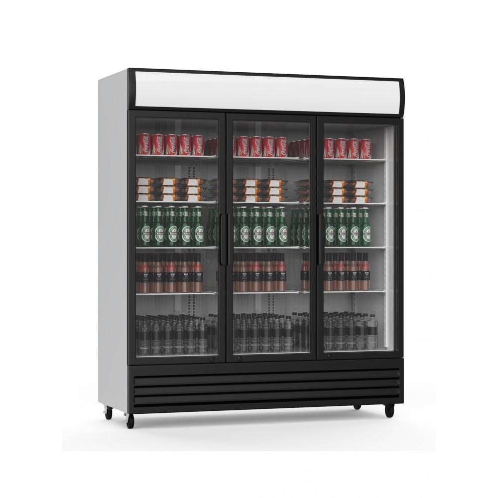 Promoline - 1500 liter - 3 klapdeuren - Zwart - Koelkast glazen deur