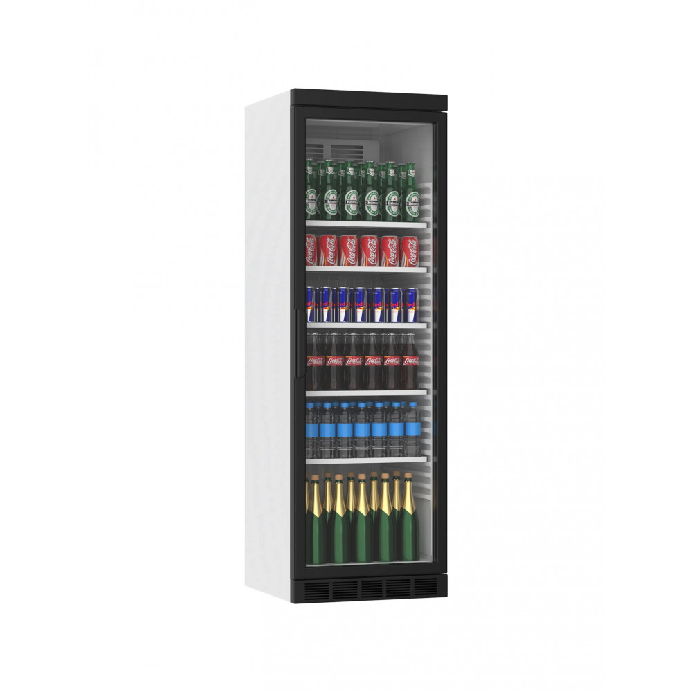 Koelkast glazen deur - 385 Liter - 1 Deurs - Zwart - H184.5 x 59.5 x 60.5 CM - Promoline