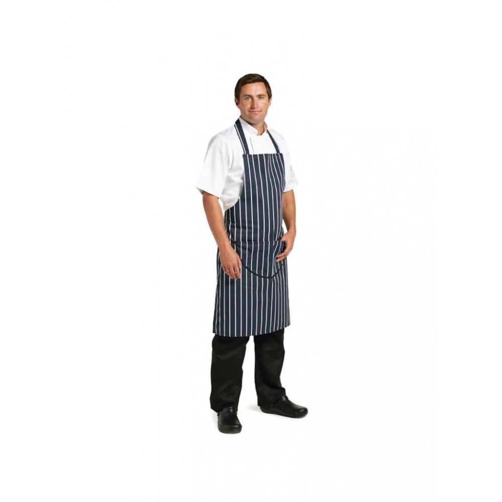 halterschort - blauw-wit - Whites Chefs Clothing - A535