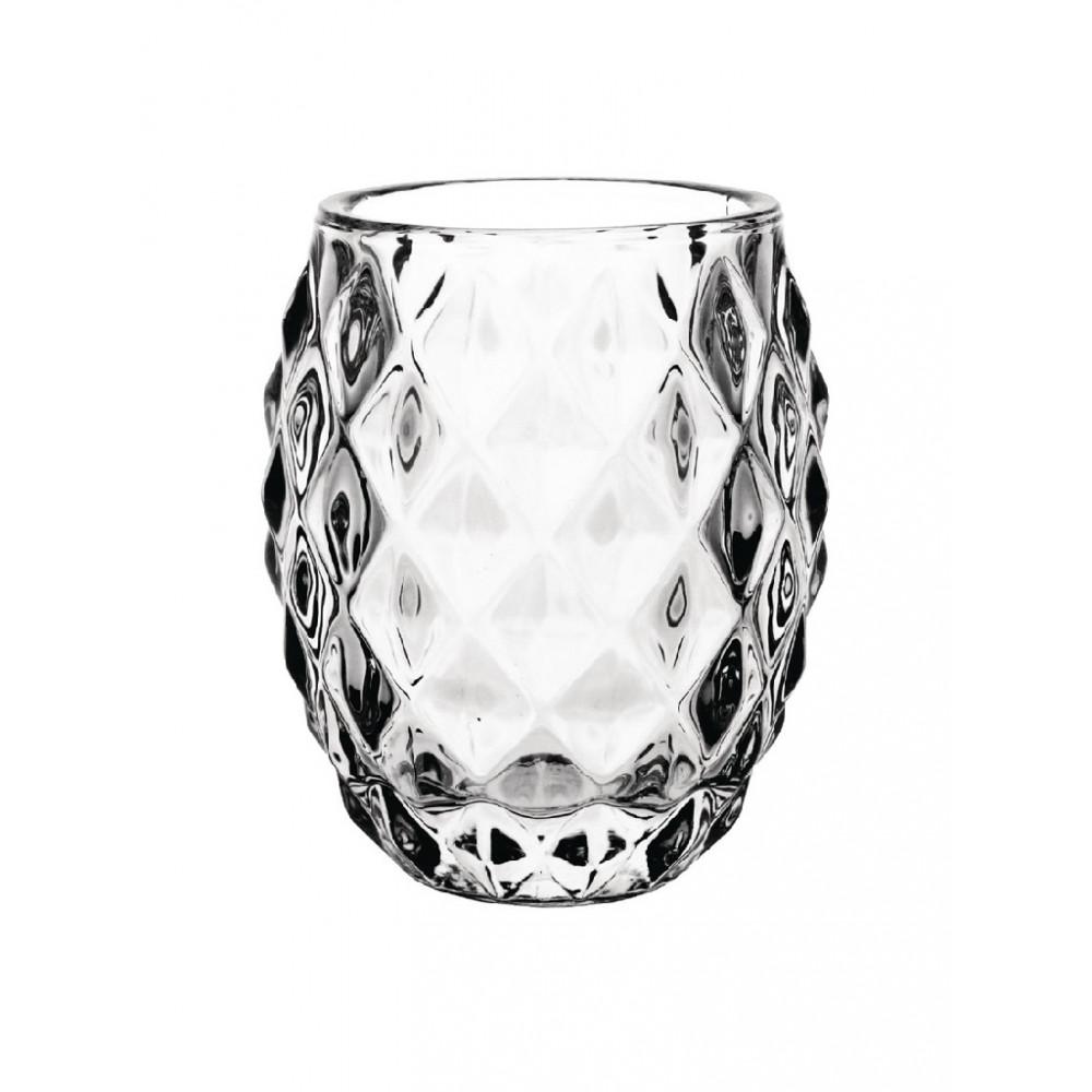 Olympia glazen theelichthouder transparant diamant 7,5cm - GM227