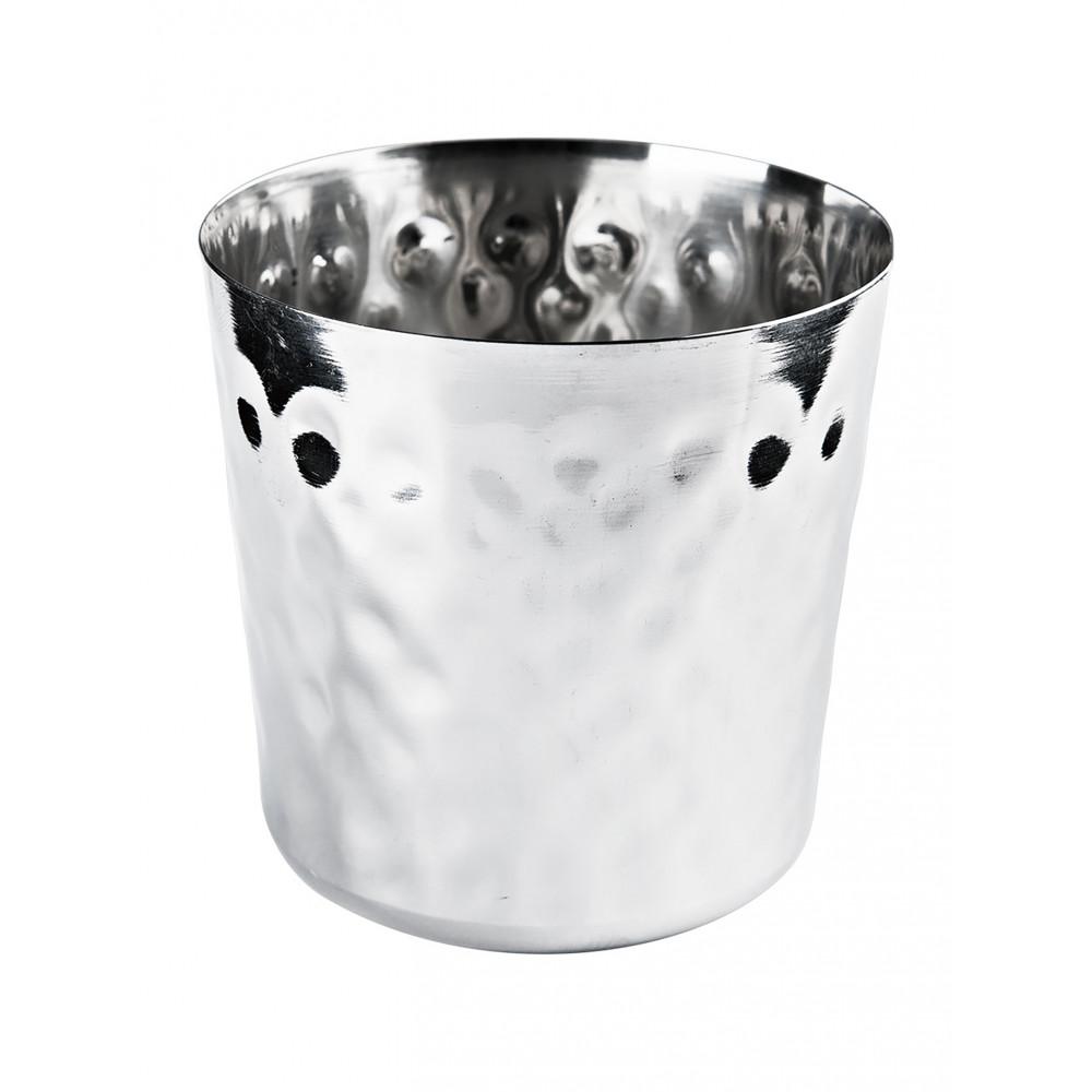 Beker voor frites - Ø8.8 x H 8.5 CM - RVS - Hamerslag - Promoline