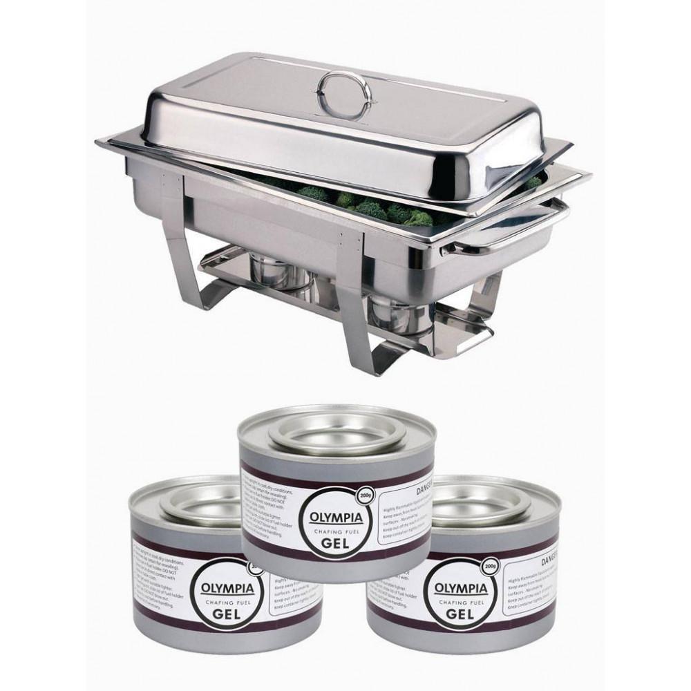 Milan Chafing Dish 1/1 GN + 24 blikjes brandpasta | Olympia