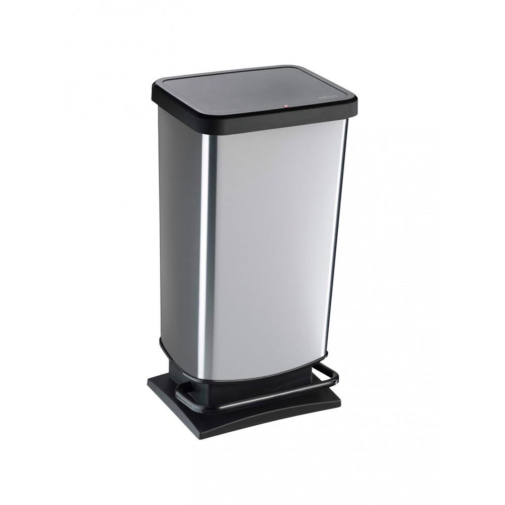 Pedaalemmer - 40 Liter - Zwart / RVS - Rotho - Paso - 522863