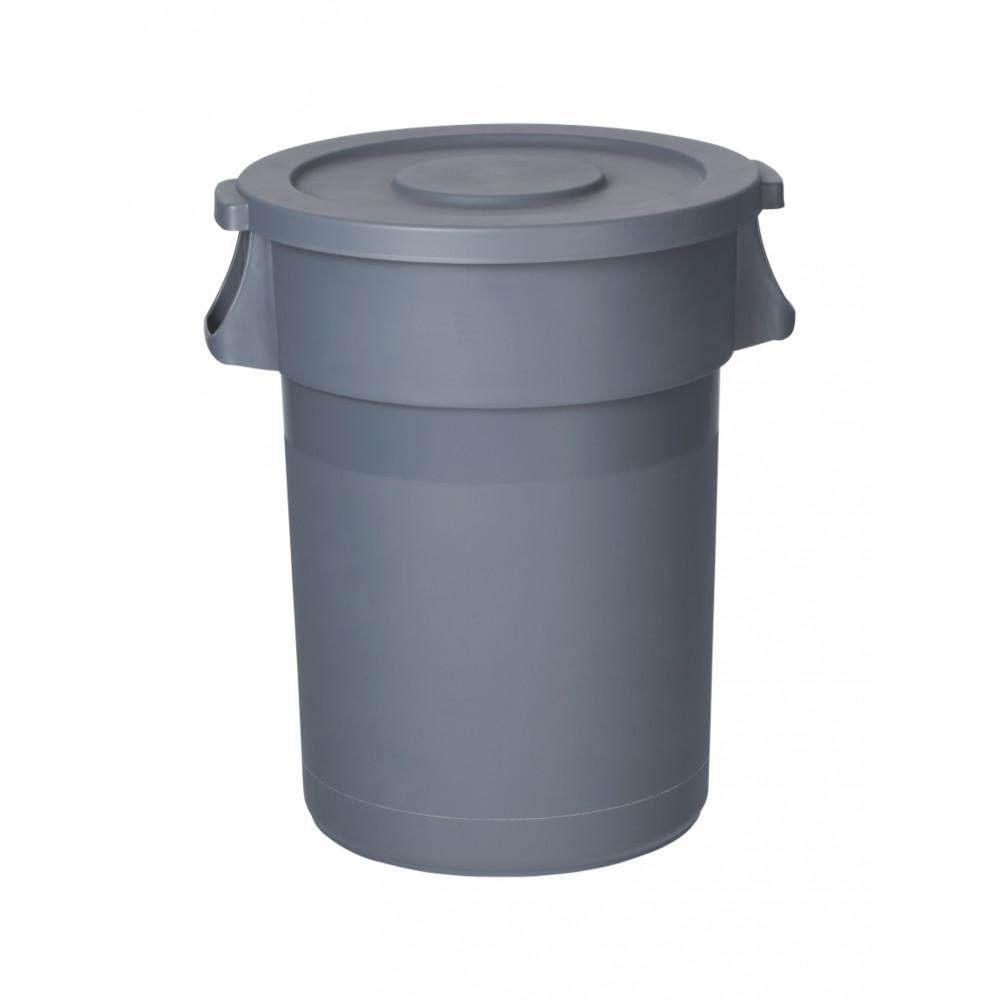 Afvalcontainer - Incl. deksel - 80 Liter - Grijs - Promoline