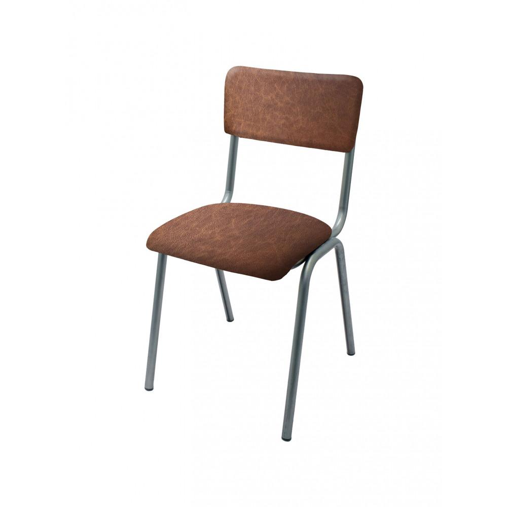 Horeca stoel - Old School - Vintage Metal - PU Bruin - Promoline