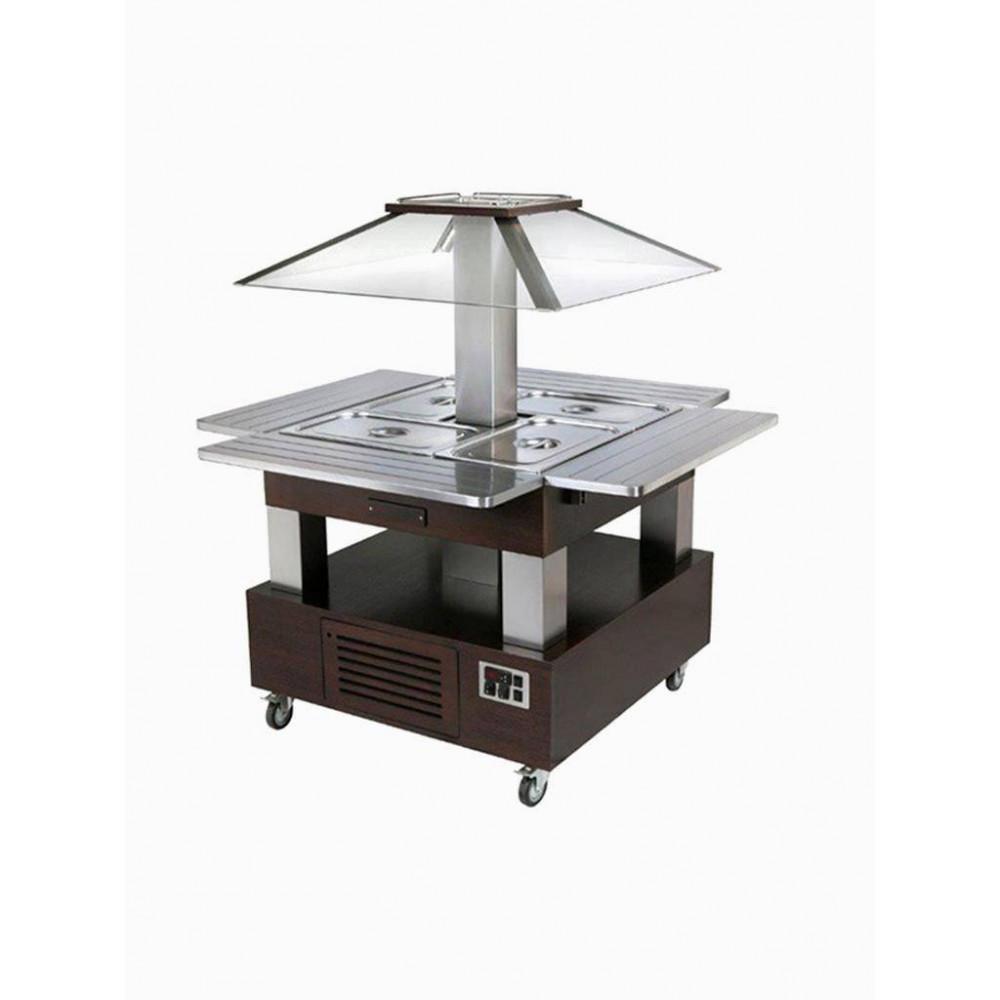 Eiland Buffet - Salad bar - Gekoeld - 4x GN 1/1-150 (Wengé hout) - CSB/4D-B1 - Diamond