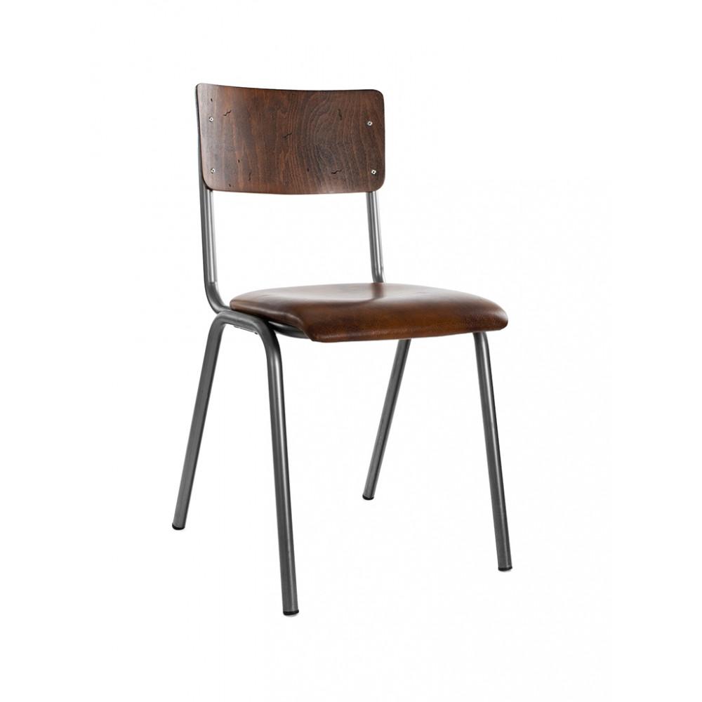 Horeca stoel - Oldschool - Skai- Hout - Staal - Promoline