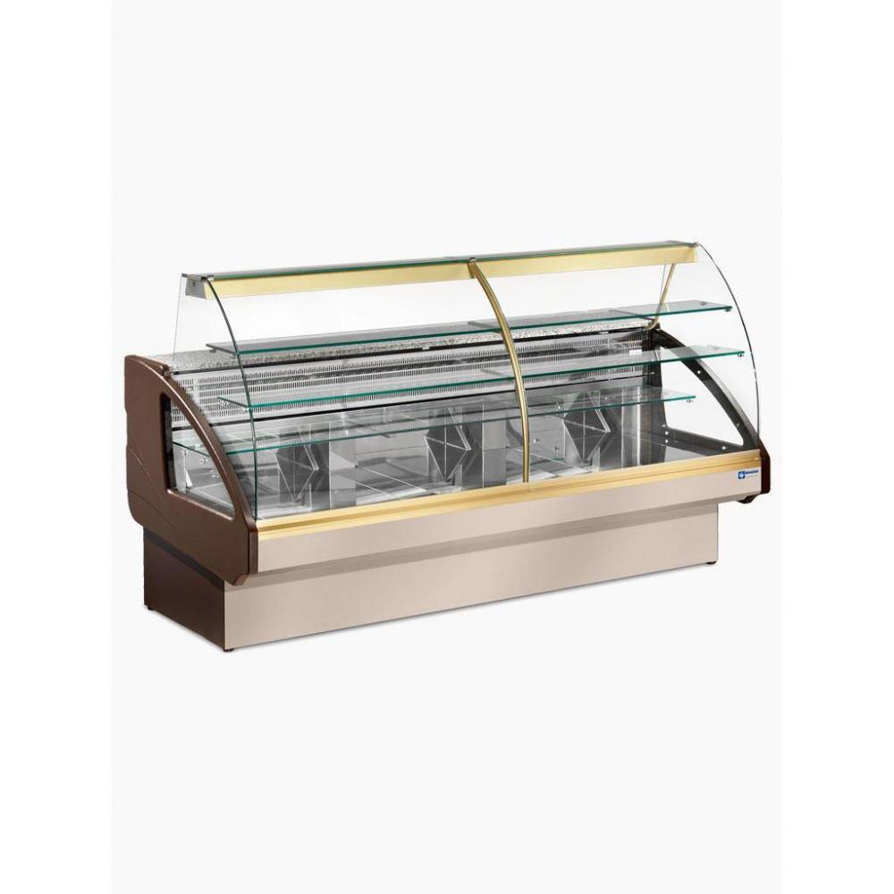 Gekoelde vitrinetoonbank - INNOVATION - statisch, ladensysteem, 290 cm, RVS