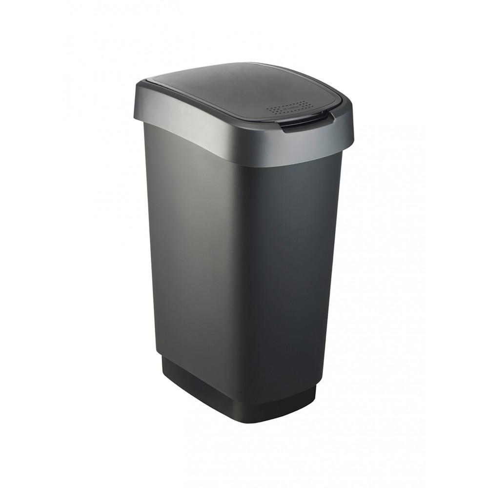 Afvalbak - 50 Liter - Swingdeksel - Zwart / Zilver - Rotho - Twist - 523737