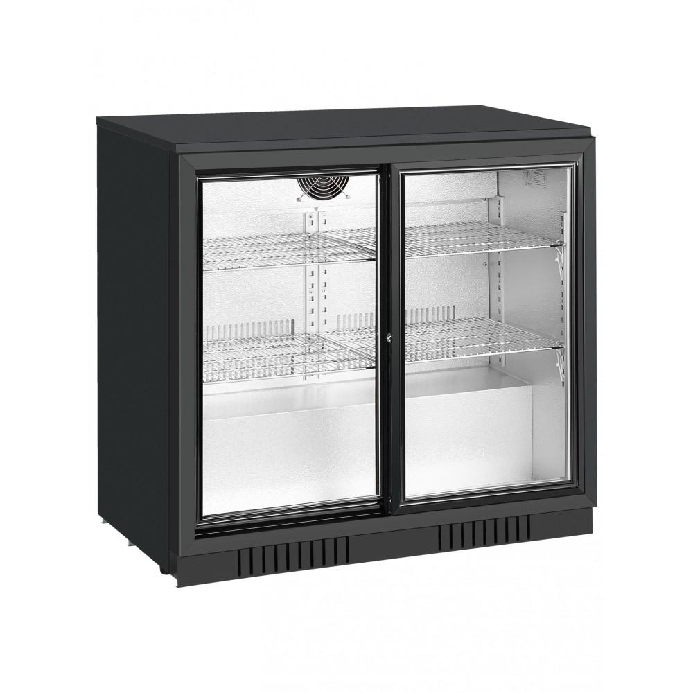 Promoline - 210 liter - 2 schuifdeuren - Zwart - Koelkast glazen deur