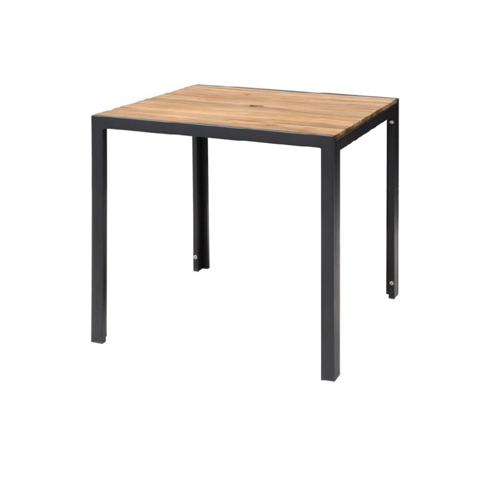Vierkante stalen en acaciahouten tafel 80x80cm - DS152 - Bolero