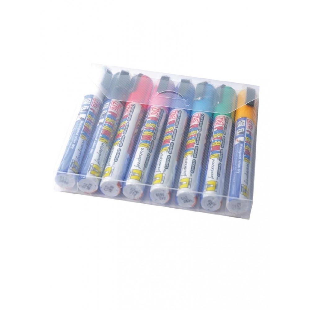 Securit Zig Posterman set weerbestendige krijtstiften 6mm assorti - Y993