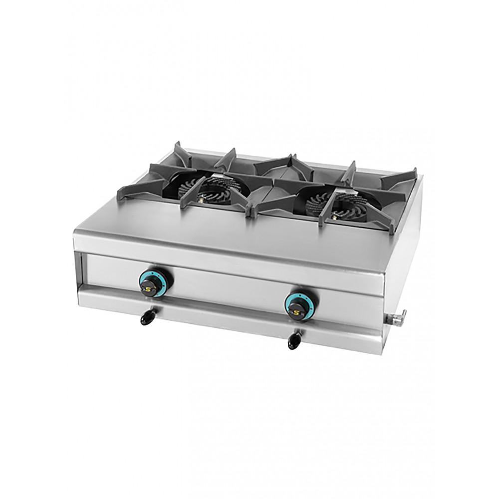 Kooktoestel - H 25 x 74 x 60 CM - 26 KG - Aardgas - 20 CM - RVS - Gas - Mach - 321202