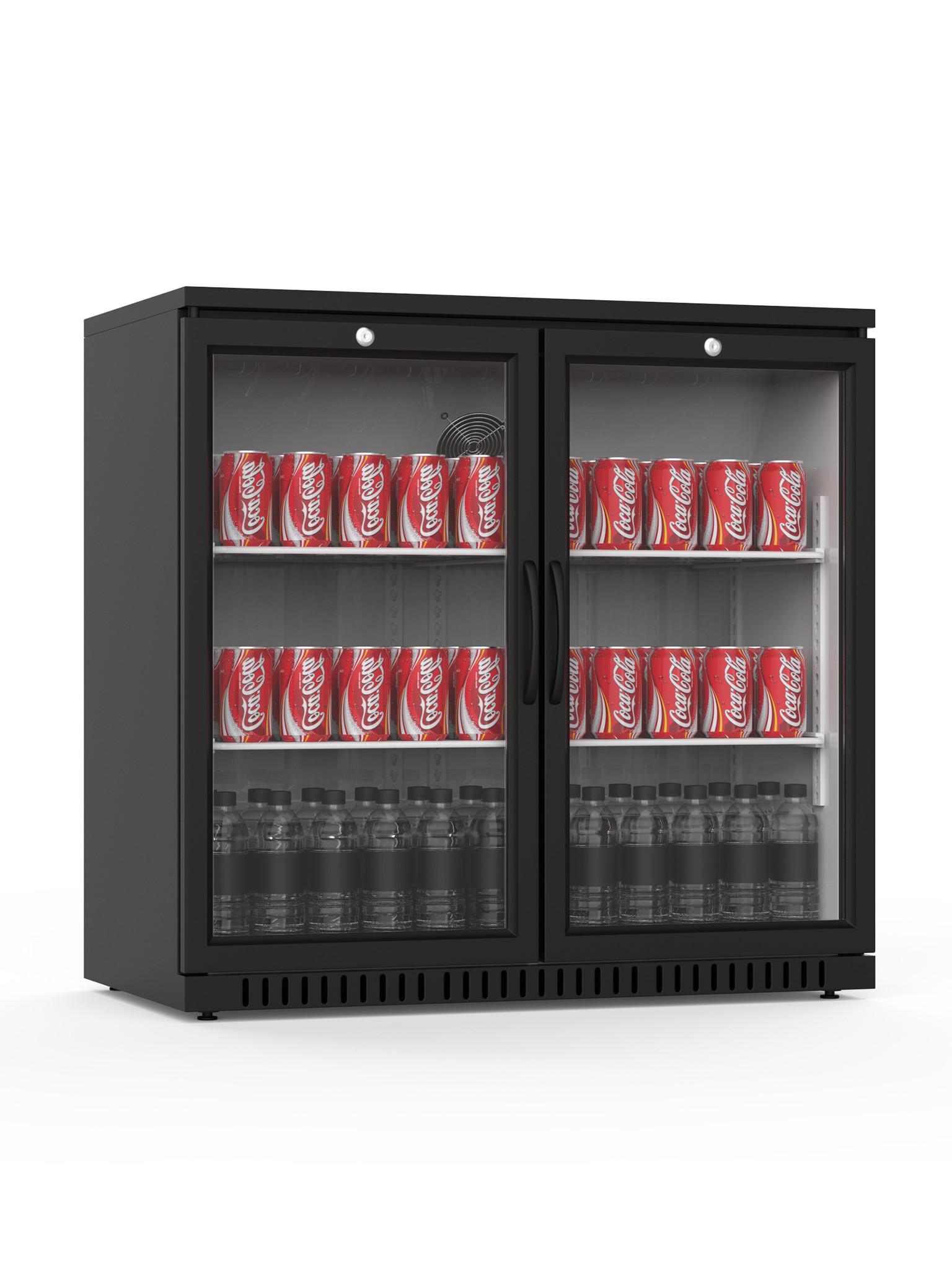 Promoline - 210 liter - 2 deurs - Zwart | Koelkast glazen deur