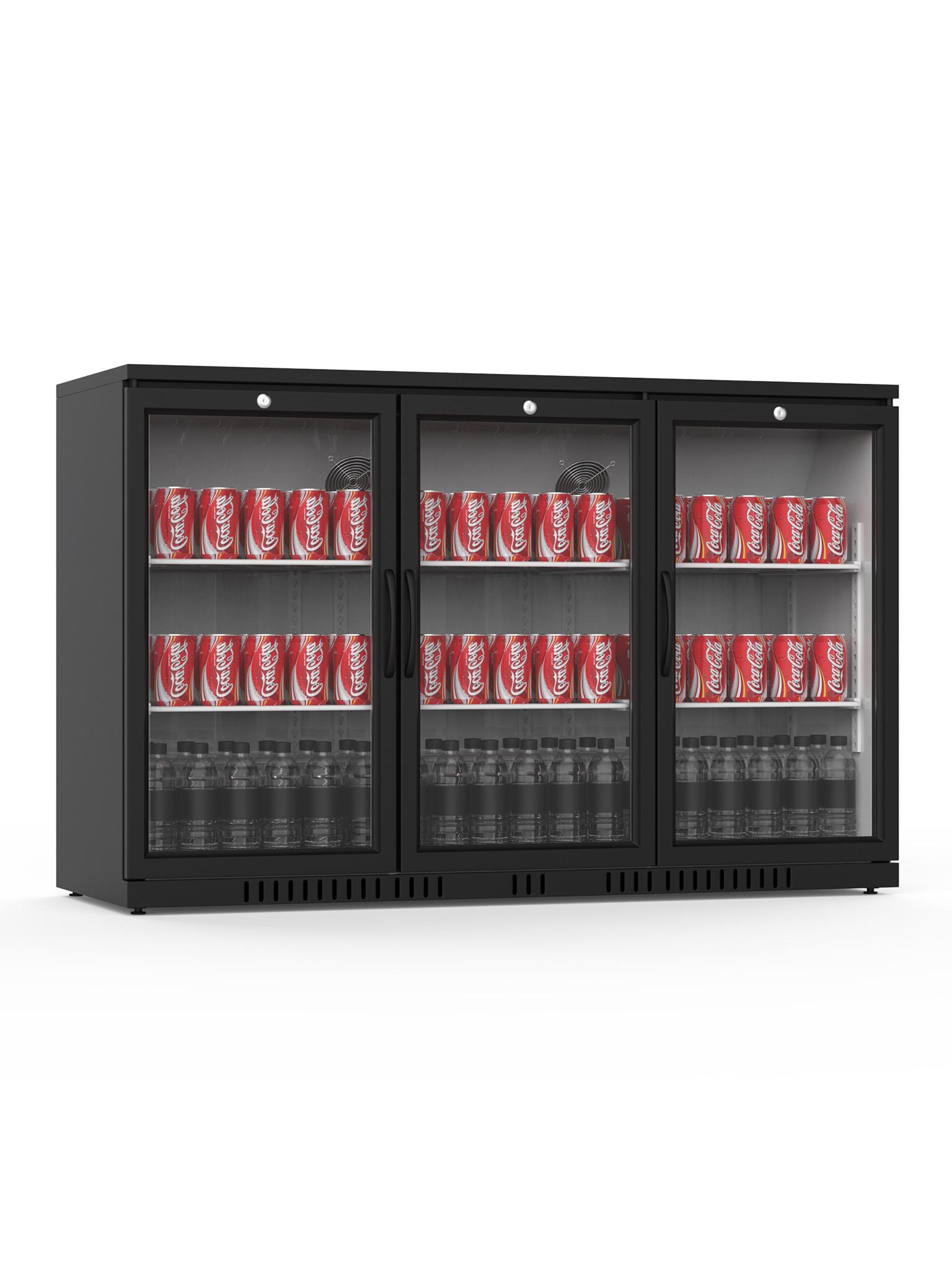 Promoline - 320 liter - 3 deurs - Zwart | Koelkast glazen deur