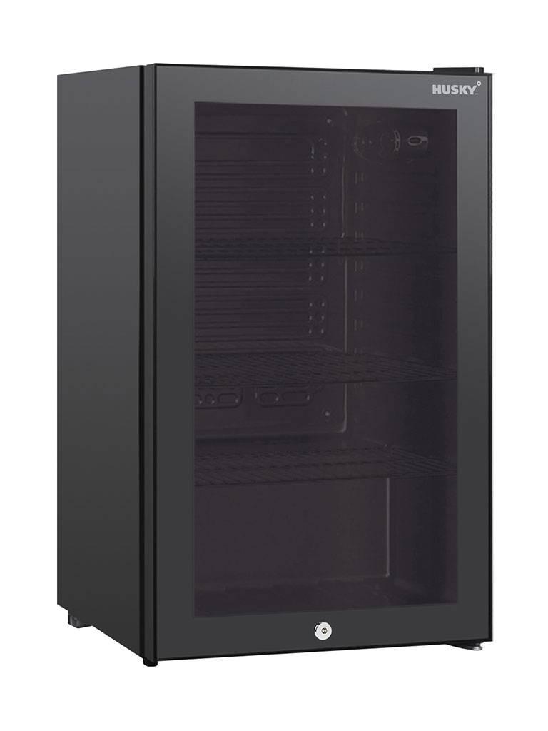 Husky - 122 liter - 1 deurs - Zwart - KK110-BKCNS-BK-HU - Koelkast glazen deur