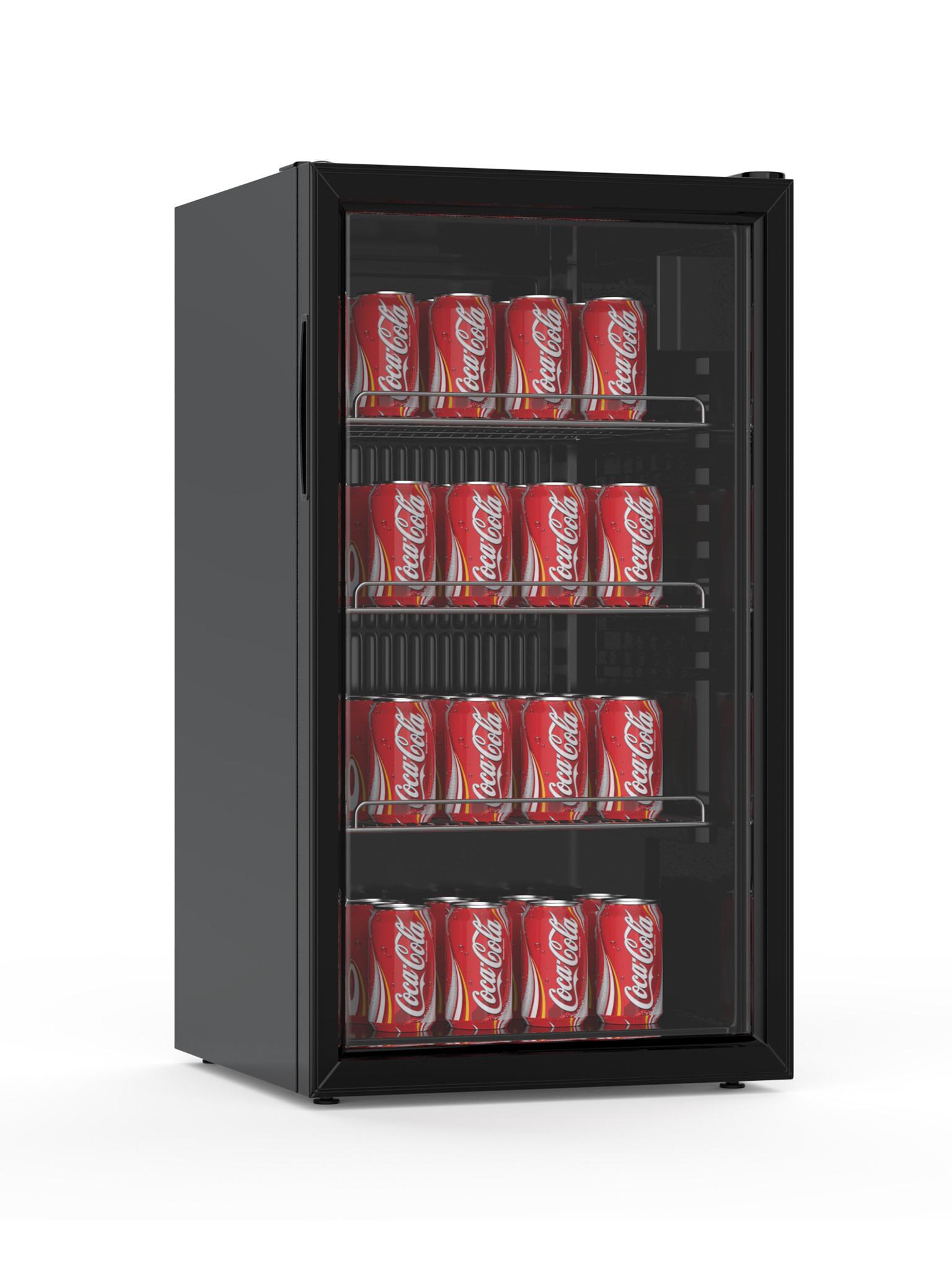 Koelkast - 85 liter - Glasdeur - Zwart