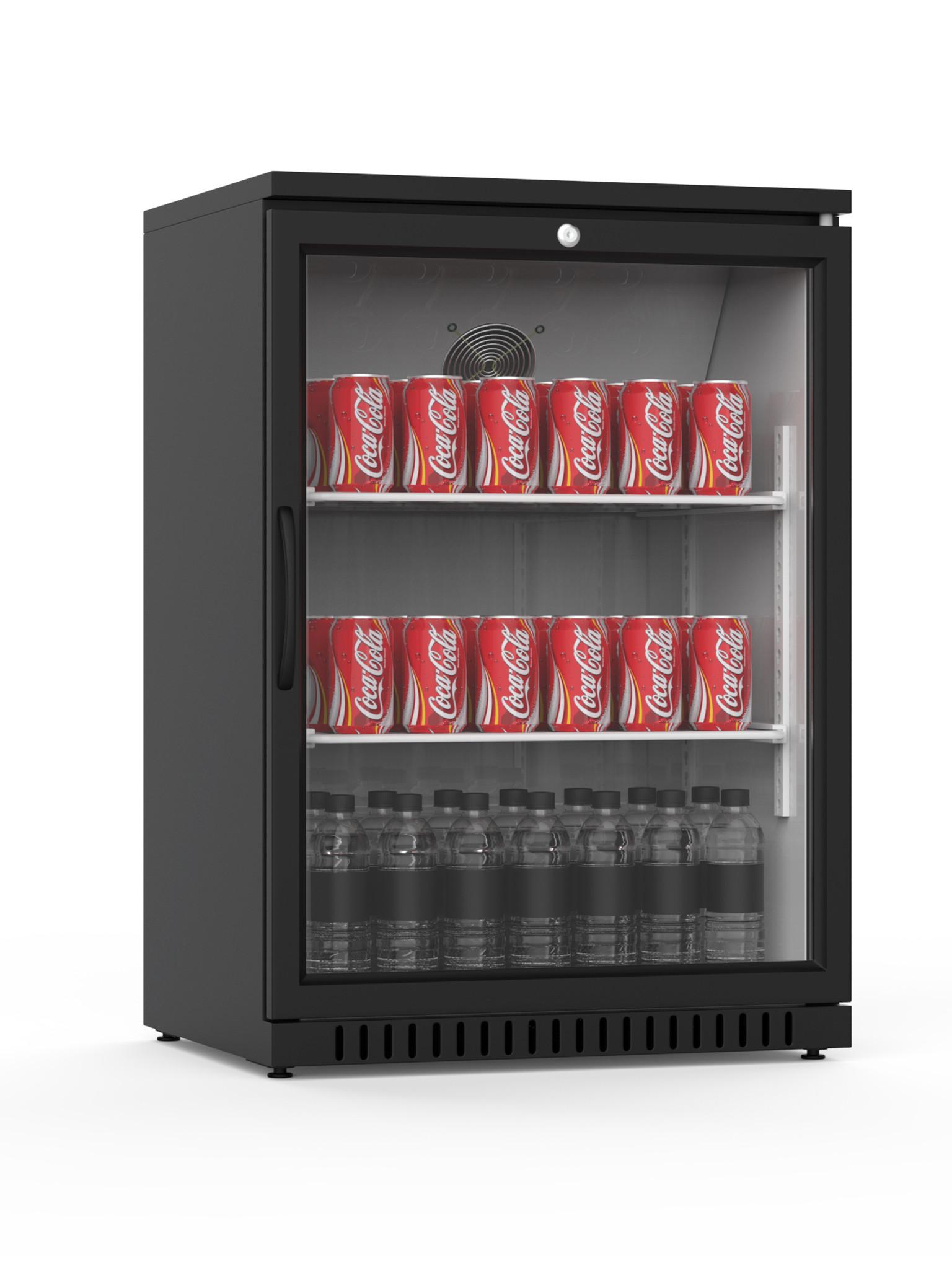 Promoline - 130 liter - 1 deurs - Zwart | Koelkast glazen deur